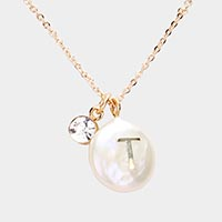 Freshwater Pearl Monogram Pendant Necklace