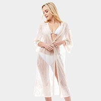 Swirl Pattern Sheer Cover Up Cardigan