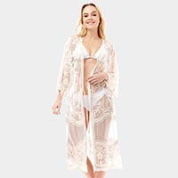 Floral Sheer Cover Up Cardigan