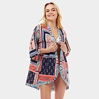 Nautical Sea Pope Anchor Cover up Open Kimono Poncho
