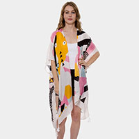 Abstract print Tassel Long Light Topper Kimono Poncho