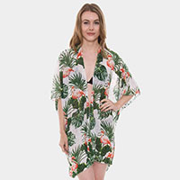 Tropical Flamingo Print Short Light Topper Cover up Kimono Poncho