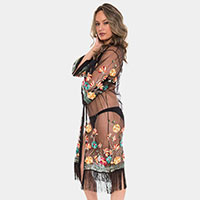Floral Pattern Tassel Fringe Cover up Open Kimono Poncho