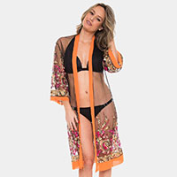 Floral Pattern Cover up Open Kimono Poncho