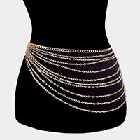 Multi Row Chain Link Layered Belly Waist Belt