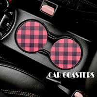 2PC - Buffalo Check Plaid Pattern Car Coasters