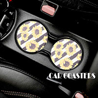 2PC - Stripe Sun Flower Pattern Car Coasters