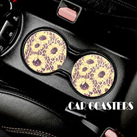 2PC - Leopard Sun Flower Pattern Car Coasters