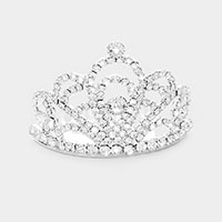 Round Crystal Rhinestone Princess Mini Tiara