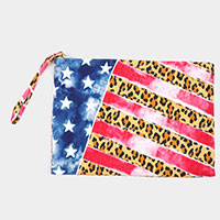 American Flag and Leopard Pattern Pouch Clutch  Bag