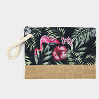 Flamingo Tropical Leaves Pouch Clutch Bag