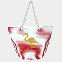 Flamingo Glitter Stripe Beach Bag