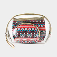 3PCS - Aztec Clear Pouches Bag