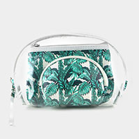 3PCS - Tropical Leaves Clear Pouches Bag