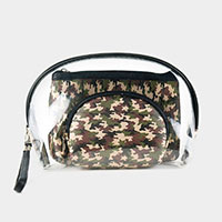 3PCS - Camouflage Pattern Clear Pouches Bag