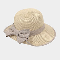 Bow Accented Straw Summer Sun Hat