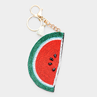 Seed Bead Watermelon Tassel Key Chain