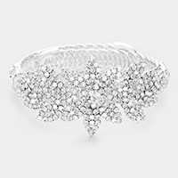 Rhinestone Pave Flower Leaf Adjustable Bracelet