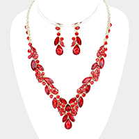 Teardrop Marquise Vine Evening Necklace
