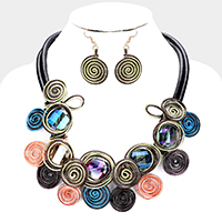 Glass Bead Coil Wire Wrapped Bib Necklace