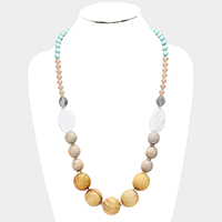 Wood Ball Mother of Pearl Necklace