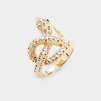 Brass Textured Metal Snake Ring