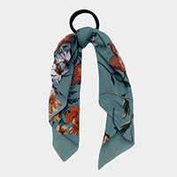 Floral Print Scarf Pony Hair Band