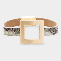 Open Square Metal Faux Leather Magnetic Bracelet
