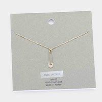 Brass Metal Cubic Zirconia Safety Pin Pendant Necklace