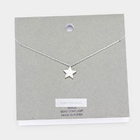 Brass Metal Cubic Zirconia Pave Star Pendant Necklace