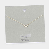 Brass Metal Evil Eye Cubic Zirconia Pendant Necklace