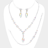 Marquise Crystal Rhinestone Drop Necklace Jewelry Set