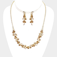 Marquise Crystal Floral Rhinestone Necklace
