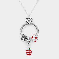 Antique Metal Rhinestone Heart Apple Drop Pendant Necklace