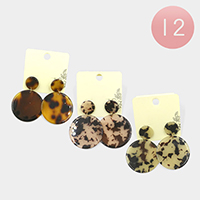 12PCS - Celluloid Acetate Double Circle Dangle Earrings