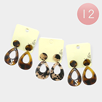 12PCS - Celluloid Acetate Open Teardrop Dangle Earrings