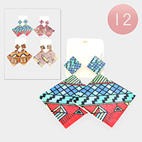 12PCS - Abstract Pattern Print Wood Earrings
