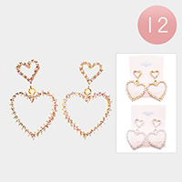 12PCS - Rhinestone Double Heart Earrings