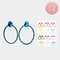 12PCS - Crystal Rhinestone Open Circle Earrings