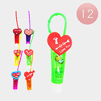 12Pcs - Lip Gloss Colorful Silicone Cute Heart Holders