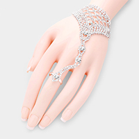 Crystal Rhinestone Hand Chain Evening Bracelet