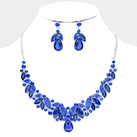 Teardrop Marquise Crystal Rhinestone Vine Evening Necklace