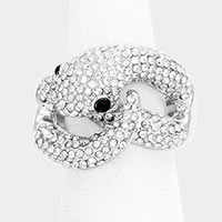 Snake Rhinestone Pave Stretch Ring