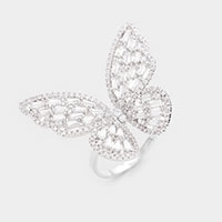 Rhodium Plated CZ Cubic Zirconia Butterfly Adjustable Ring