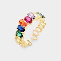 Colorful CZ Cubic Zirconia Rhinestone Adjustable Ring