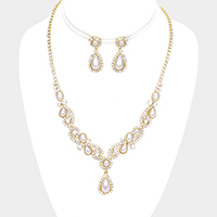 Teardrop Pearl Rhinestone Sprout Crystal Vine Necklace