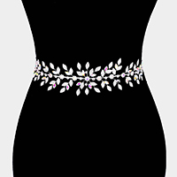 Marquise Crystal Floral Rhinestone Sash Ribbon Wedding Belt / Headband