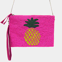 Seed Bead Pineapple Crossbody / Clutch Bag