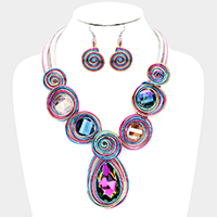 Teardrop Round Crystal Coil Wire Wrapped Bib Necklace
