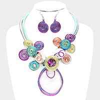 Colorful Coil Wire Wrapped Decor Bib Necklace